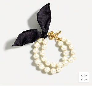 J Crew Layered pearl bow tie bracelet gold tone